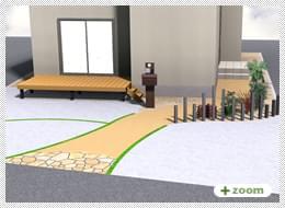 外構プラン(2) ウッドデッキ・カラークリート・機能門柱・角柱・乱形石貼り・土間コンクリート