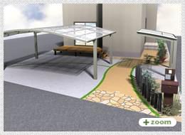 外構プラン(3) ウッドデッキ・カラークリート・機能門柱・サイクルポート・カーポート